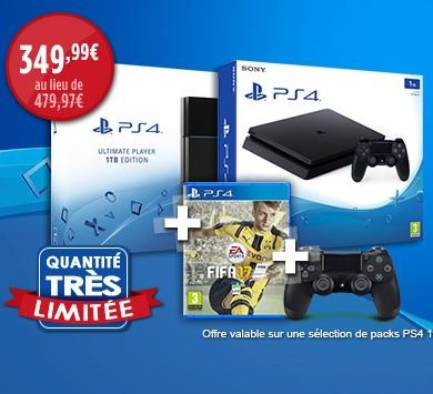 bon plan console ps4 slim 1to avec fifa 17 et 2 manettes pas cher. Black Bedroom Furniture Sets. Home Design Ideas