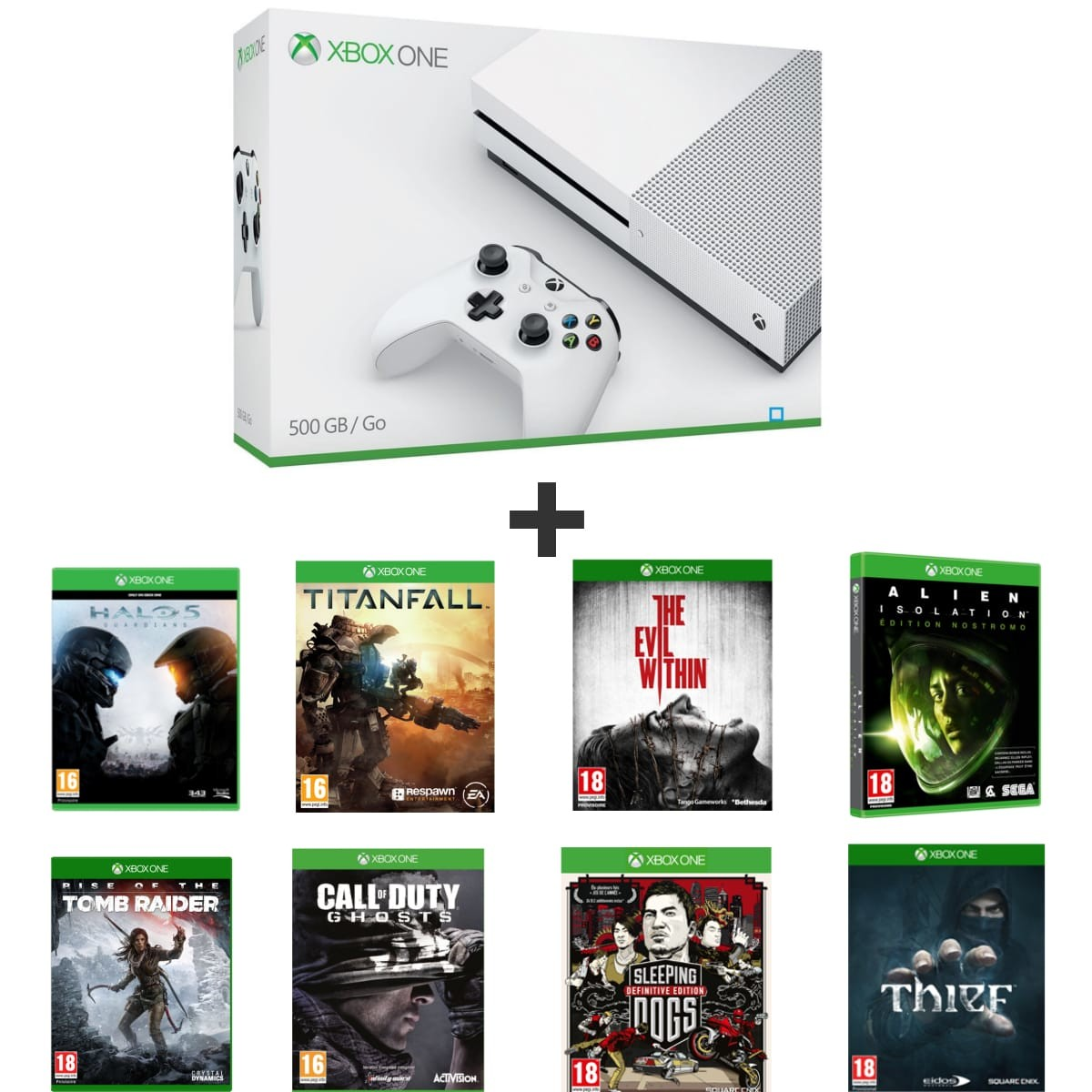 bon plan console xbox one s pas cher avec 8 jeux. Black Bedroom Furniture Sets. Home Design Ideas