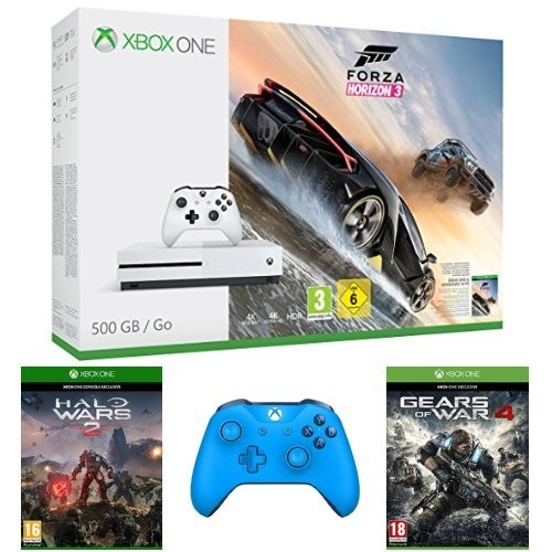 console xbox one s forza horizon 3 halo wars 2 gears of war 4 2 me manette bleue 329. Black Bedroom Furniture Sets. Home Design Ideas