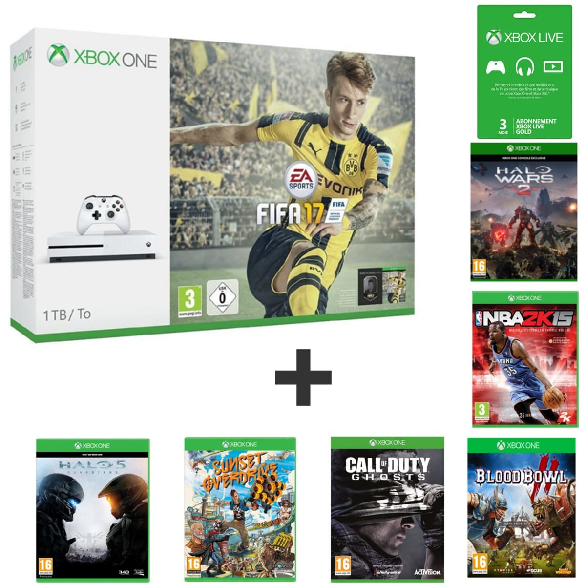 console xbox one s 1 to fifa 17 halo wars 2 halo 5 sunset overdrive blood bowl 2 nba. Black Bedroom Furniture Sets. Home Design Ideas