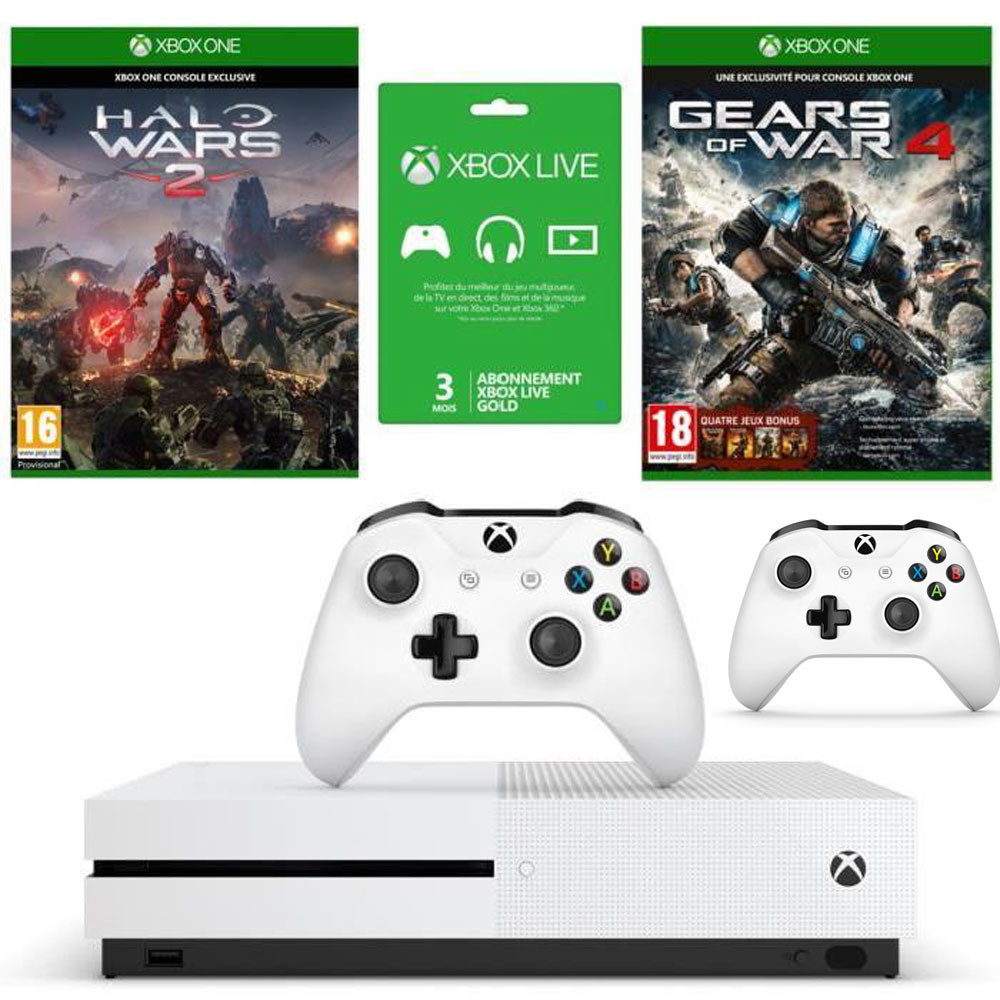 bon plan console xbox one s 2 jeux et 2 manettes pas cher. Black Bedroom Furniture Sets. Home Design Ideas