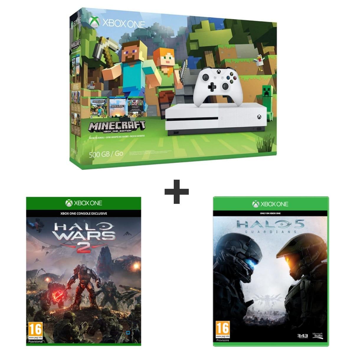 s lection de packs xbox one s minecraft 2 autres jeux. Black Bedroom Furniture Sets. Home Design Ideas