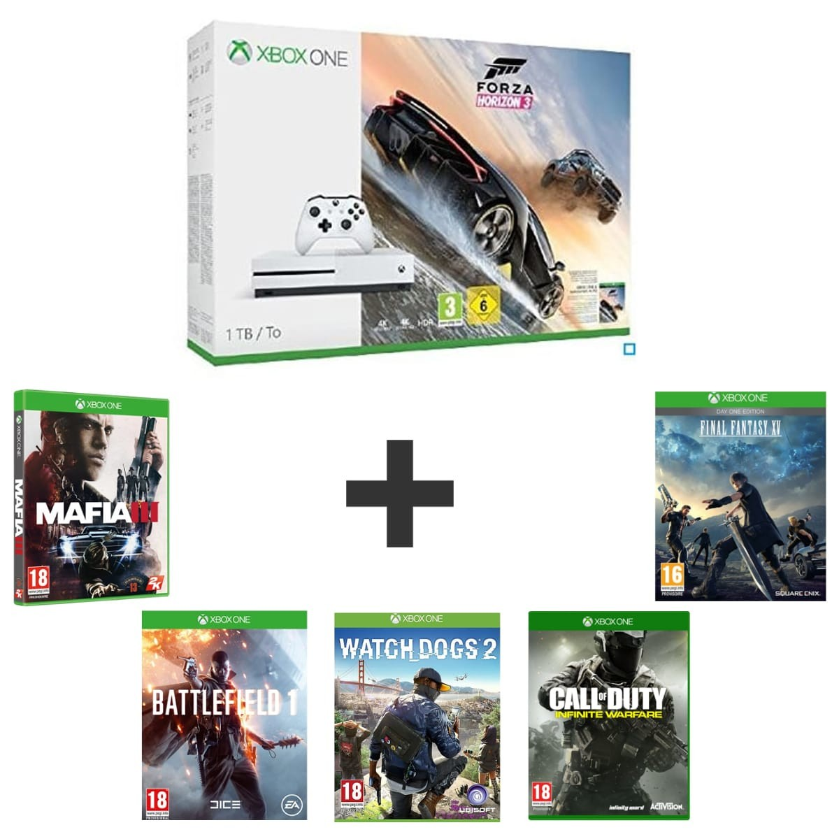 xbox one s 1to forza horizon 3 ou gears 4 ff 15. Black Bedroom Furniture Sets. Home Design Ideas