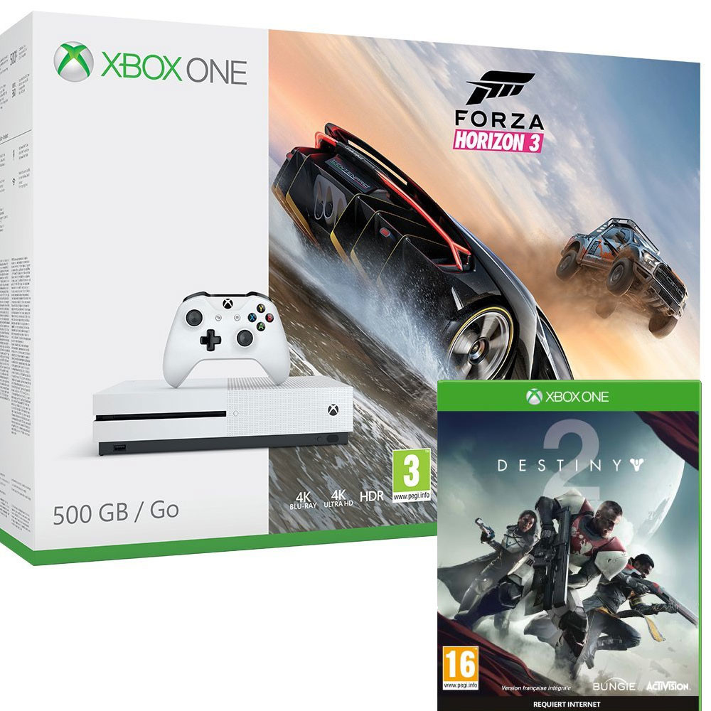 bon plan console xbox one s forza horizon 3 destiny 2. Black Bedroom Furniture Sets. Home Design Ideas