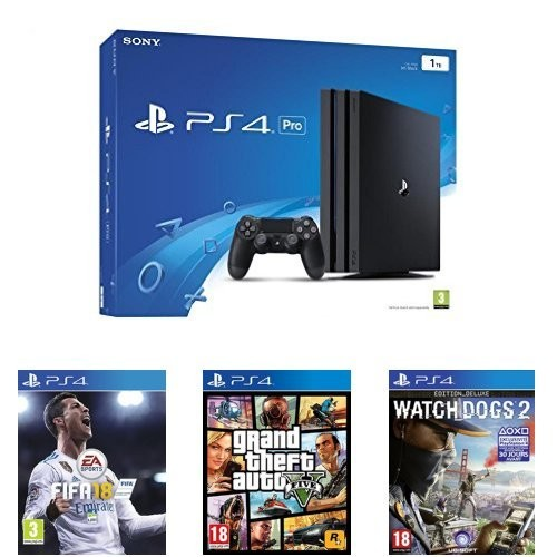 console ps4 pro fifa 18 gta v watch dogs 2. Black Bedroom Furniture Sets. Home Design Ideas