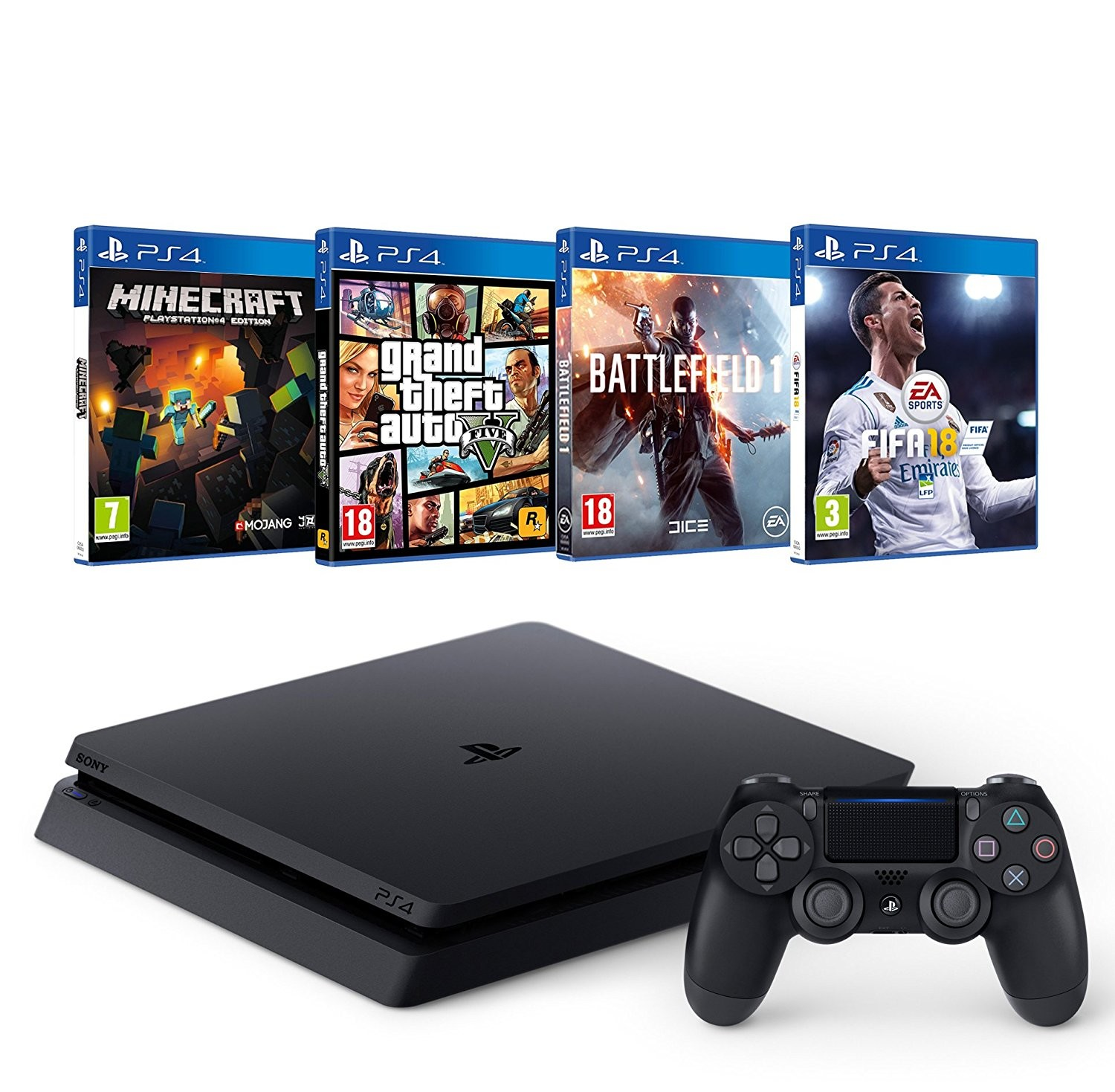 bon plan console ps4 slim avec 4 jeux fifa 18 gta. Black Bedroom Furniture Sets. Home Design Ideas