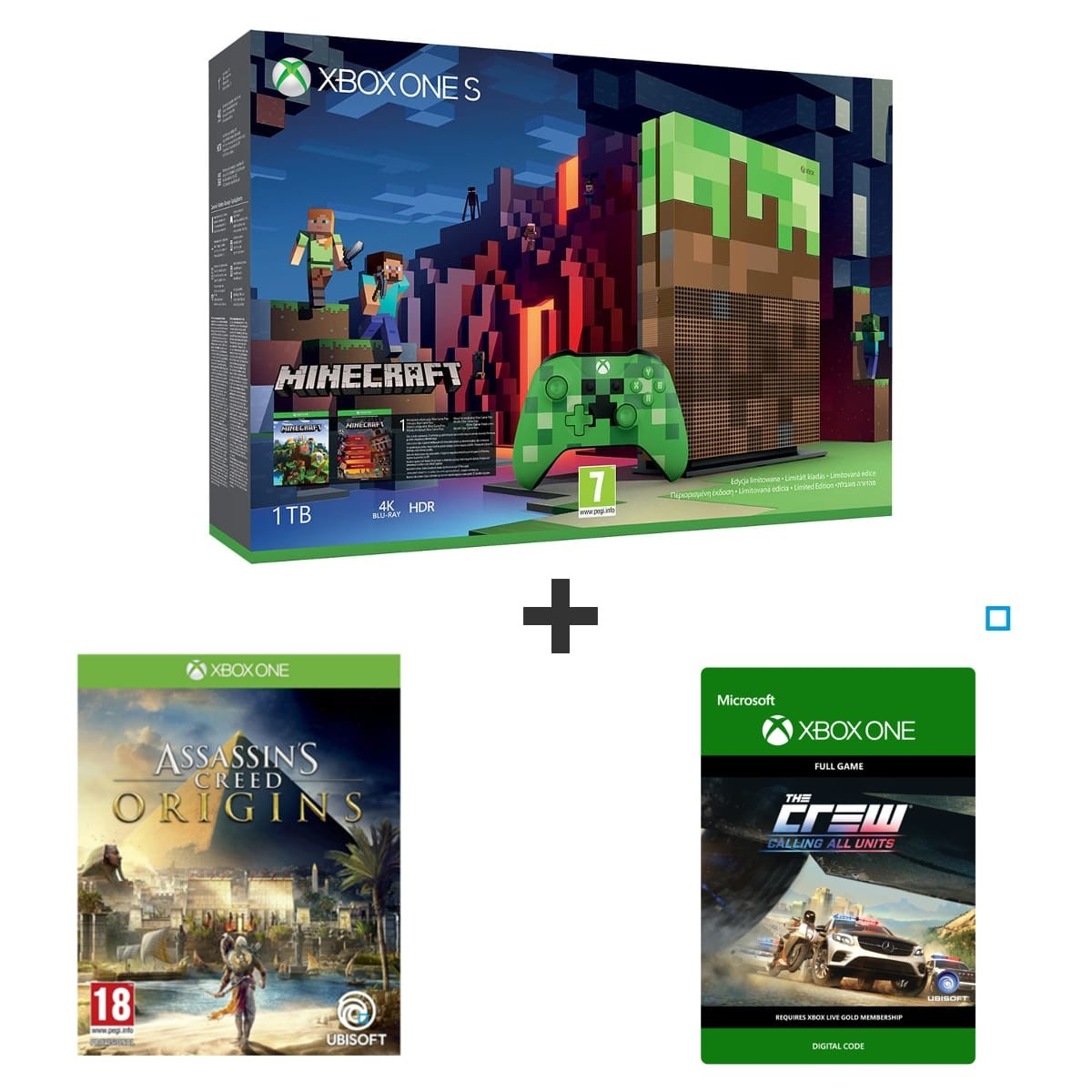 bon plan console xbox one s collector minecraft avec. Black Bedroom Furniture Sets. Home Design Ideas