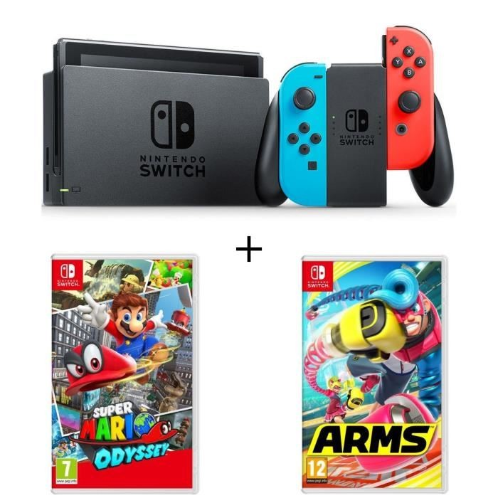 bon plan console nintendo switch mario odyssey et arms pas cher. Black Bedroom Furniture Sets. Home Design Ideas