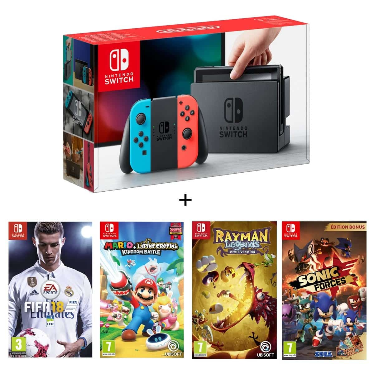 console nintendo switch fifa 18 mario les lapins cr tins rayman legends definitive. Black Bedroom Furniture Sets. Home Design Ideas